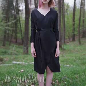 sukienki jedwabna czarna, jedwab, kimono, kopertowe, imprezowa, elegancka