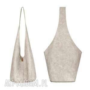 short boogi bag - torba w stylu boho na ramię, beżowa, przecierana, boho, hobo