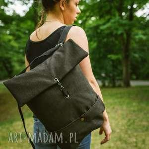 plecako-torba ciemna plecionka, torba, plecak