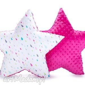 pokoik dziecka poduszka gwiazda - kropelki na fuksji, poduszki