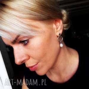 kolczyki z perłami - srebro 925, perłami, perły, wiszące, srebrne, codzienne