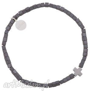 sotho grafitowa męska modowa bransoletka hematyt kostki, krzyż