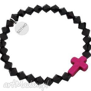 czarna bransoletka różowy krzyż howlit kryształy swarovski elements