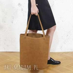 shopper xl torba ruda na zamek / prosta vegan, tote, shopperka, duża, vegan