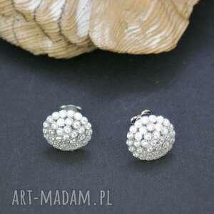 kolczyki srebrne z cyrkoniami, kolczyki, srebrne, wkrętki, cyrkonie, błyszczące