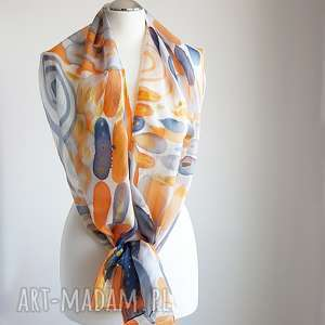 hand made szaliki jedwabny malowany szal - złota abstrakcja