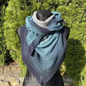 chustki i apaszki ręcznie wykonana chusta z bawełną w odcieniach turkusu mech