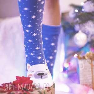 świąteczne ciepłe skarpetki pod choinkę na prezent niebieskie