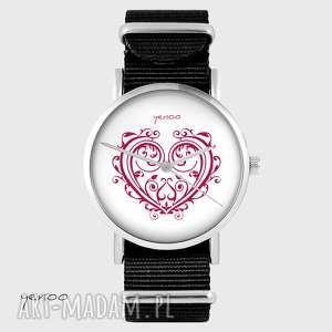 Prezent Zegarek - Serce ornamentowe czarny, nato, zegarek, bransoletka, serce