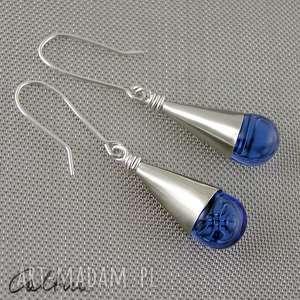 błękitne krople - kolczyki, wiszące, krople, klipsy, szklane, łezki, proste