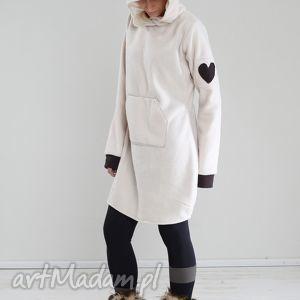pluszowy fajny jest, polarowa, kaptur, wymyślna, wygodna, kieszeń, uszy sukienki