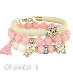 pearly chic - ivory & candy pink lavoga - rzemień koniczynka, perły
