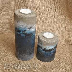 Komplet świeczników z betonu, ręcznie malowanych świeczniki