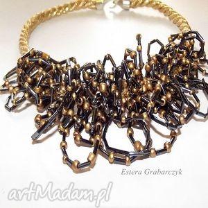 naszyjnik haft koralikowy - bedanig, haft, koralikowy, naszyjnik, grafitowy, ślub