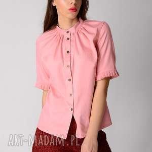 różowa koszula z bawełny, koszula, pastelowy, guziki, krótki, marszczona, metalowy