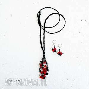 czerwone i czarne komplet biżuterii, biżuteria z koralem, koral czerwony