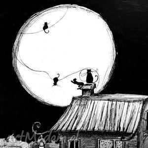 Grafika piórkiem Pełnia artystki plastyka Adriany Laube, grafika, rysunek, kot