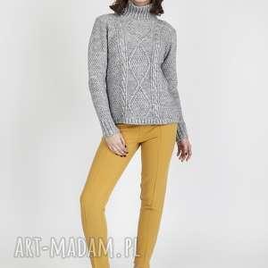 swetry golf z wzorami, swe121 szary mkm, dzianinowy, sweter, jesienny