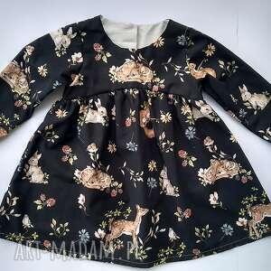 sukienka leśne zwierzątka, sukienka, vintage, modna, prezent, sarenka