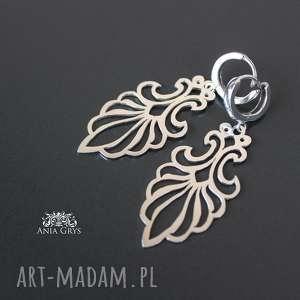 Ażurowe kolczyki, ażurowe, srebrne, wycinane, ornamenty, aniagrys