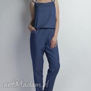 Kombinezon na ramiączkach jeansowy, KB105 jeans, ramiączka, paski, plecy, kieszenie