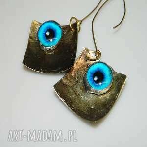Oko saurona-k32 esterka kolczyki, turkusowe unikatowa biżuteria