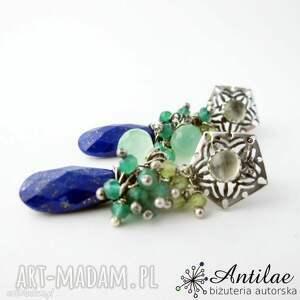 Romantyczne kolczyki z lapis lazuli i mniejszymi minerałami, sztyfty, wkrętki