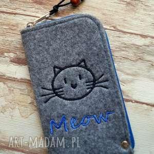 Prezent Filcowe etui na telefon - meow, smartfon, pokrowiec, etui, kotek, miau