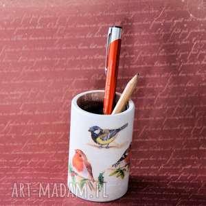 kubek na kredki - ptaszki, kubek, kredki, porządek, biurko, ptaszek, drewno