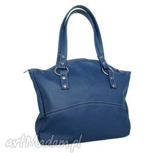 41-0007 Granatowa torba skórzana z pięknymi kołami / błyszczące nity ROLLER, modne