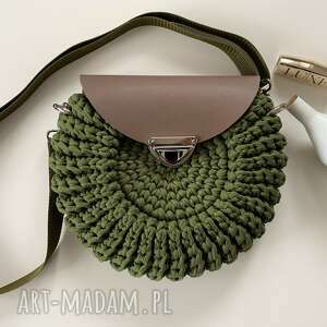 hand-made na ramię damska torebka handmade kolor khaki