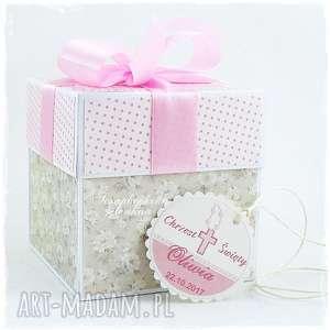 Prezent Exploding Box na Chrzest Św. - dla dziewczynki, chrzest, kokarda, buciki