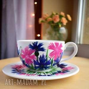 ceramika duża filiżanka ręcznie malowana 350 ml chabry, dla niej, mamy