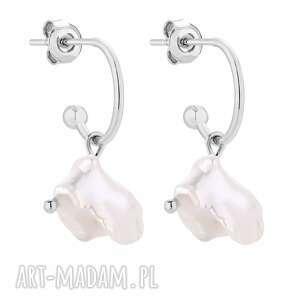 srebrne kolczyki z naturalnymi perłami - srebrne kolczyki, półkola