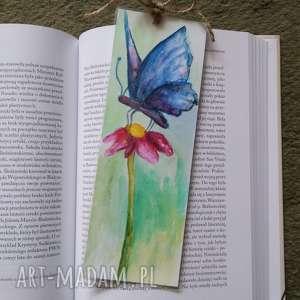 zakładka do książki-motyl, zakładka, kwiatek, kredki, moty, akwarela