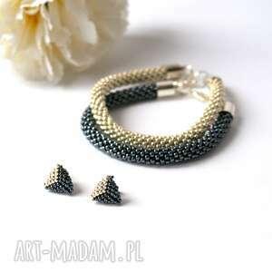 triangle set maxi - komplet biżuterii w hematycie i srebrze, toho, sztyfty