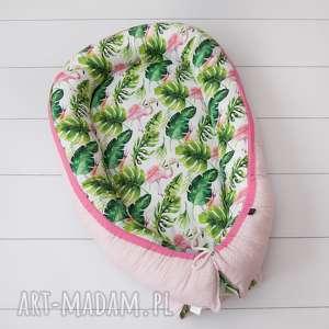 kadaro kokon, gniazdko niemowlęce flamingi i liście, otulacz, fasolka