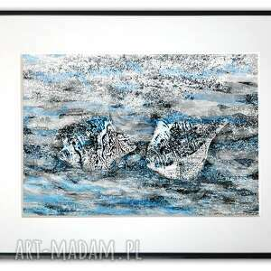 grafika w ramie z passe-partout muszle morzu 40x30, muszle, morskie
