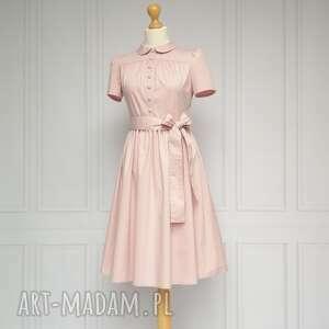 sukienki gabriel sukienka z kołnierzykiem bebe, różowa, sukienka, retro, midi