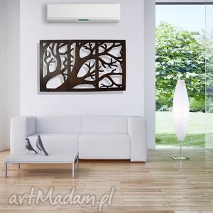100 x 63 cm - tryptyk z gałęzią, drewniana, przestrzenna dekoracja, drewniana