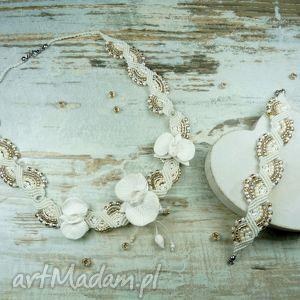 Komplet biżuterii ślubnej z kwiatami orchidei, ślub, biżuteriaślubna, kompletślubny