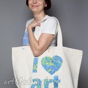 na zakupy torba bawełniana duża i love art, gogh, irysy, zakupy, sztuka, impresjonizm