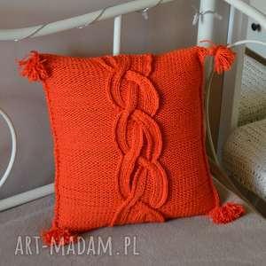 dziergana poszewka, poduszka, dom, pomarańczowa, prezent, pod choinkę