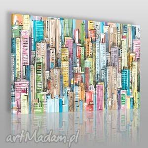 obraz na płótnie - miasto budynki - 120x80 cm 15801 - komiks, budynki, miasto