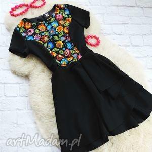 sukienka z falbaną łowicka folk, sukienka, łowicka, łowicz, ludowa, etniczna
