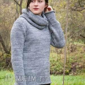swetry szary melanżowy sweter z kominem, sweter, półgolf