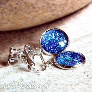 klipsy :: shaphire galaxy, klips, niebieskie, wiszace, wygodne, srebrne, regulacja