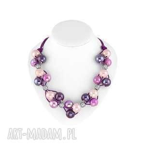 mandala fiolety i róż - naszyjnik, ceramika, kula, rzemień, prezent