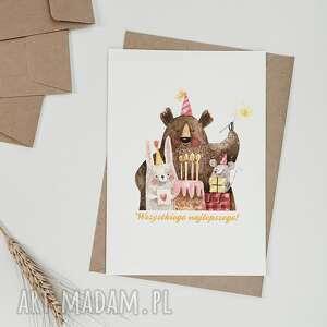 ręcznie wykonane kartki kartka urodzinowa - zwierzaki