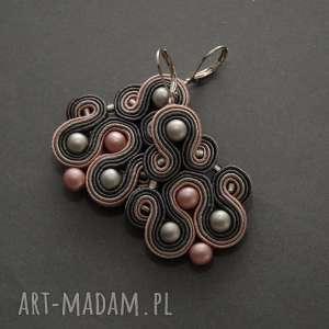 klipsy szaro-różowe sutasz, sznurek, pudrowe, stalowe, eleganckie